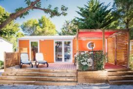Terrasse mobil-home, camping, luxe, vacances, extérieur, bois