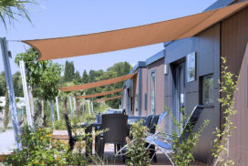 Voile ombrage, terrasse, camping, vacances, luxe, soleil