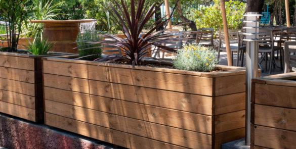 amenagement exterieur camping vtec terrassteel bois solide durable luxe haut de gamme accessoire jardiniere